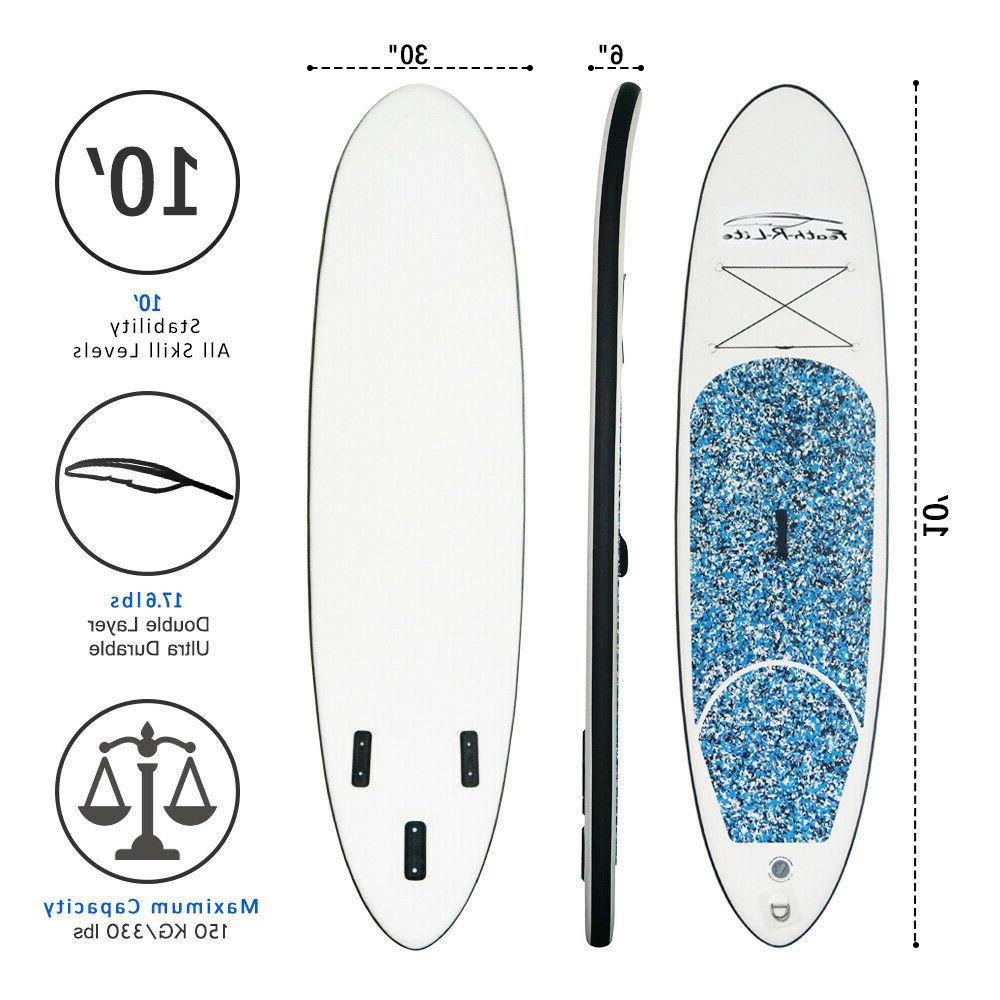 10' Inflatable Paddle Surfboard with complete thick
