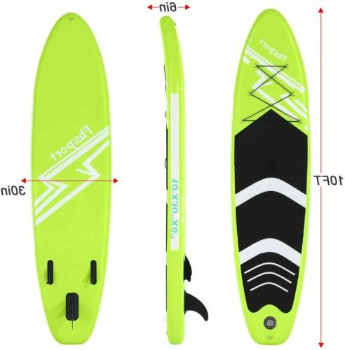 Inflatable Up Paddle Board 10'x30''x6'' Green Accessories