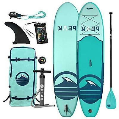 Peak Inflatable Up Paddle Board Complete Package Adjustable Paddle, Backpack,