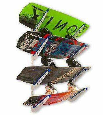 Metal Wakeboard Storage Rack | Adjustable 4 Board Wall Mount