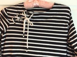 Coolibar Ocean Side Tunic black/white stripe 3/4 Sleeve Dres